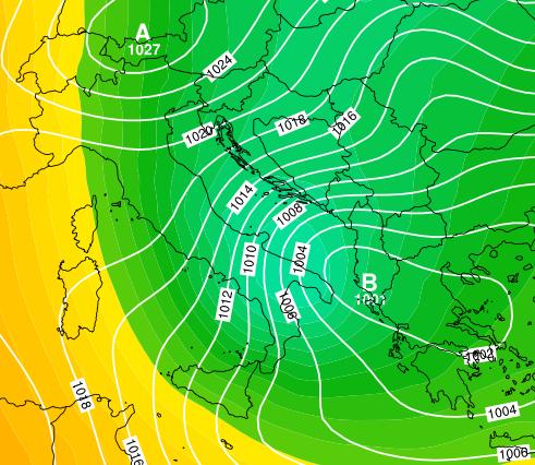 Nucleo freddo in entrata da est con bassa pressione al Sud